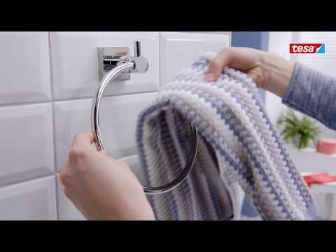 Anneau porte-serviettes tesa® Hukk - Organiser sa salle de bain sans percer !