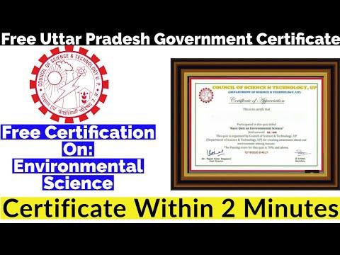 Free Uttar Pradesh Government Certificate   Environmental Science ...