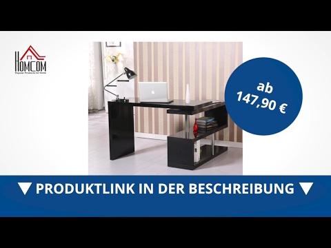 Homcom Computertisch Hochglanz Winkelschreibtisch PC Tisch schwarz - direkt kaufen! - Aosom.de
