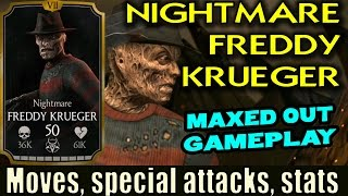 Nightmare Freddy Krueger In Mortal Kombat X Mobile 1.11. Maxed Out Stats, X-Ray, Special Attacks.