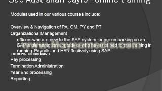 Sap Australian payroll online training tutorial
