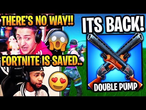 streamers react to *event* double pump *back* in season 10! (fortnite moments)