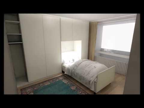 Schlafzimmerschrank mit integriertem Bett