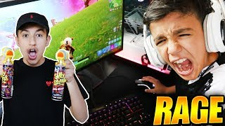 ANNOYING Little Brother While He Plays Fortnite Solos! Silly String Prank! RAGE