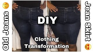 DIY Clothing Transformation| Old Jeans To Jean Skirt| Upcycling| Kilo KI
