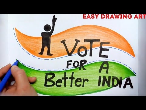 how to draw vote for a better india poster