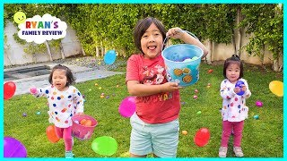 Ryan Easter Eggs Hunt Opening Surprise Toys with Emma and Kate