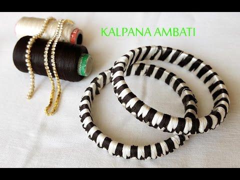 criss cross silk thread bangles making video # two colors bangles