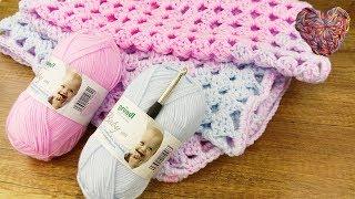 Baby Decke Häkeln | 70 x 90cm Granny Decke | Super einfach & Schnell für Anfänger | Baby Idee