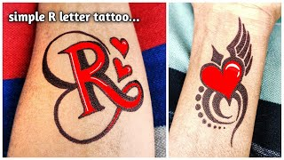 A Beautiful R Letter And Simple Heart Tattoo | Amazing Tattoo Designs