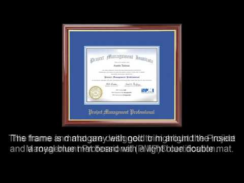 PMP® Certificate Frame Mahogany with Royal Mat