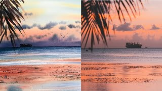 Seascape in Watercolor Painting a SUNSET and Palm Trees
