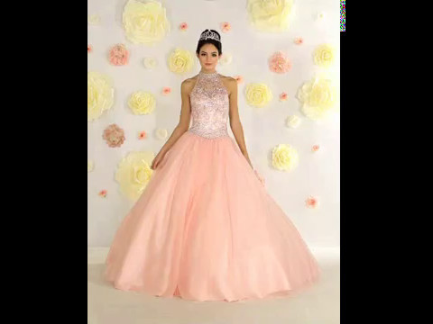 Shop MarlasFashions.com for Halter Beaded Bodice Light Pink Ball Gown with Corset