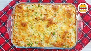 Рисовая запеканка с грудинкой и овощами. Рецепт простой запеканки из риса с копченостями.