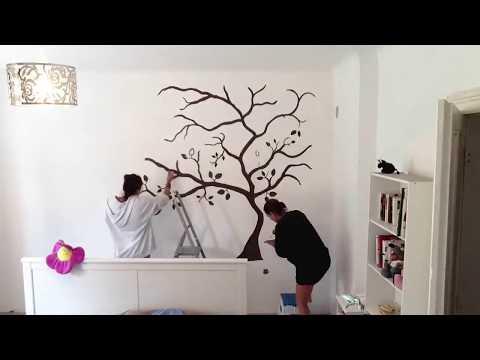 Wandtattoo / Wandbemalung Baum Schlafzimmer