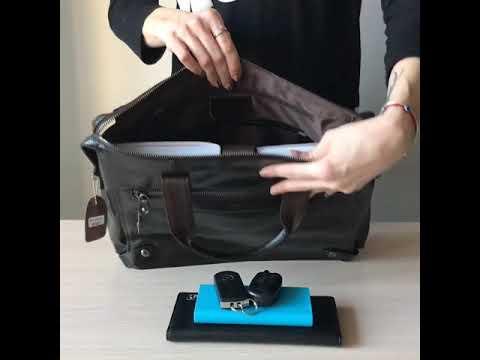 Мужская кожаная сумка JASPER&MAINE темно-коричневого цвета Video #1