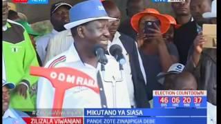 Kinara wa NASA Raila Odinga apiga kampeini eneo Kitale akitafuta kura