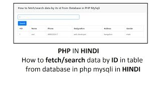 How to fetch/search data by id from database in php mysqli in hindi