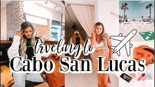CABO SAN LUCAS TRAVEL VLOG: flying to cabo, hotel room tour & what's in my carry on bag!