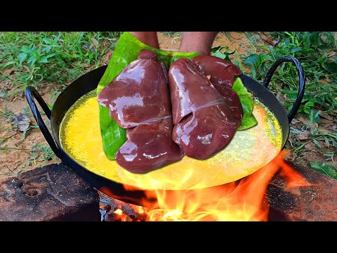 MUTTON LIVER FRY RECIPE | Mutton Liver Cooking in Banana Leaf | Farmer Cooking