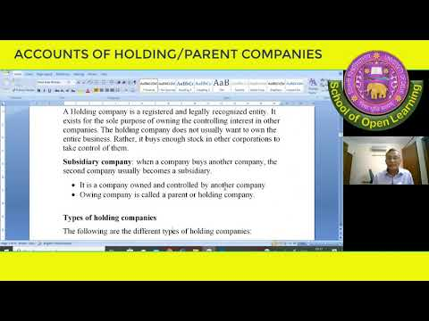 CORPORATE ACCOUNTING, ACCOUNT OF HOLDING/ PARENT COMPANIES By - DR N K AGGARWAL