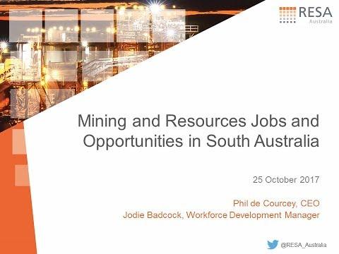 Puestos de trabajo y oportunidades en el sector minero en el sur de Australia - Primer cuarto, actualización 2017-2018