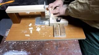ジクソーテーブルでほぞ Making tenon by jigsaw table