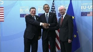 Obama at EU headquarters for talks on takeover of Crimea