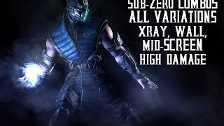Mortal Kombat X - Sub-Zero Combos, Advanced (65% reset, 58% x-ray,49% corner), All Variations