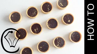 Mini Chocolate Caramel Tarts With Gold Accents By Cupcake Savvys Kitchen