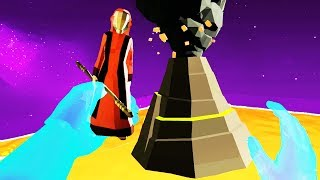 Throwing Villagers in the Volcano in VR! - Deisim Gameplay - VR HTC Vive