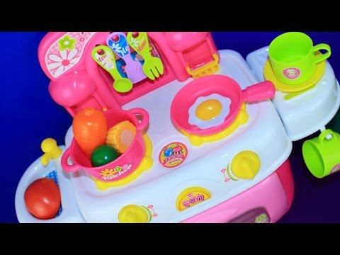 Toy Kitchen velcro fruit vegetables cooking soup baking bread cookies toy food asmr