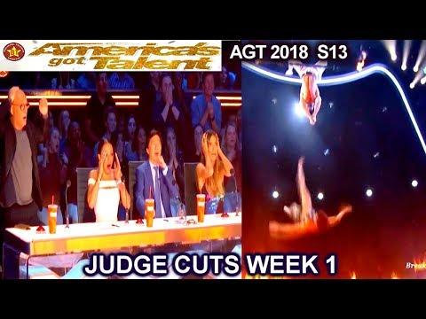 Duo Transcend FULL PERFORMANCE & SHOCKING FALL! Trapeze  America's Got Talent 2018 Judge Cuts 1 AGT (видео)
