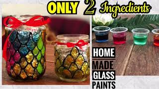 Home Made Glass Paint | DIY | Only 2 Ingredients |Glass Painting Tutorial For Beginners | Bottle Art
