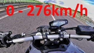 Yamaha MT-09 or FZ-09 - Acceleration 0-276km/h & Startup & Exhaust Sound & Burnout & Wheelie & Drift