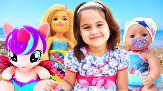 Куклы на пляже. Мультик про Беби Бон, Барби и Пони