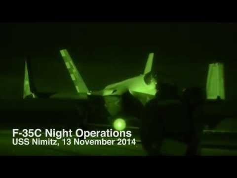 F-35C Lightning II Conducts First Night Flight Ops During Developmental Testing aboard USS Nimitz
