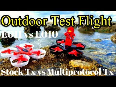 Eachine E011 vs E010 Outdoor Test Flight Review And Stock Tx vs Turnigy 9XR Pro With Multiprotocol T