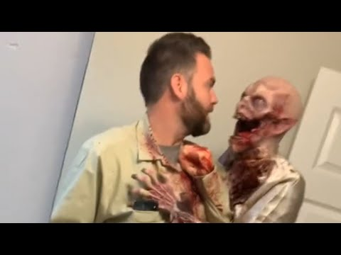 Dad Scares the Kids with a Terrifying Zombie Costume