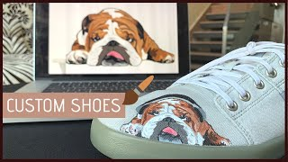 CUSTOM SHOES | Hand Painted | BullDog 🐶