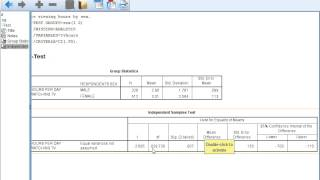 Independent Samples t- test in SPSS 22 and Calculating and Interpreting Cohen's d