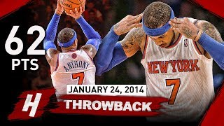 Carmelo Anthony NEW MSG Record Full Highlights vs Bobcats 2014.01.24 - UNREAL 62 Points, CAREER-HIGH