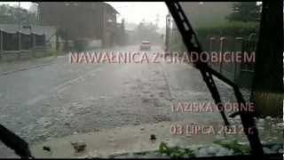 preview picture of video 'Nawałnica z gradobiciem Łaziska Górne 03.07.2012 (Hailstorm in Laziska Gorne)'