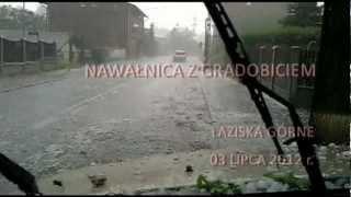 preview picture of video 'Nawałnica z gradobiciem Łaziska Górne 03.07.2012 (Hailstorm in Laziska Gorne)'