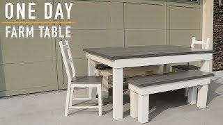 Making A Farmhouse Table Build: One Day Build  // DIY Farm Table