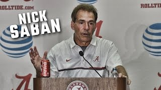 Nick Saban speaks to the media after Alabama's 38-10 win over WKU