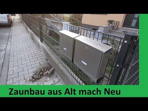 Zaunbau aus Alt mach Neu Doppelstabmattenzaun Montage auf Mauer dübeln