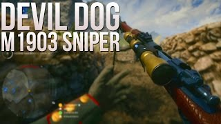 "Legendary Sniper Skin - ""Devil Dog"" M1903 Sniper Gameplay - PS4 64 Man Operations Monte Grappa"