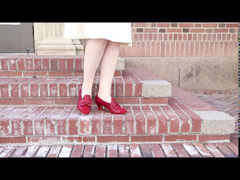 Maria Retro Bow Pumps (Red)