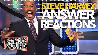 6 FUNNY STEVE HARVEY REACTIONS To Family Feud Answers! Bonus Round
